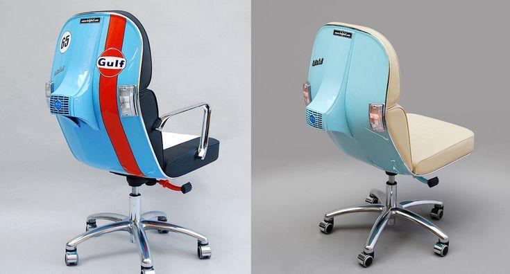 Le fantastiche sedie da ufficio fatte con la carena della Vespa Piaggio Oggi gli appassionati del leggendario scooter di Pontedera potranno portarselo dietro anche in ufficio
