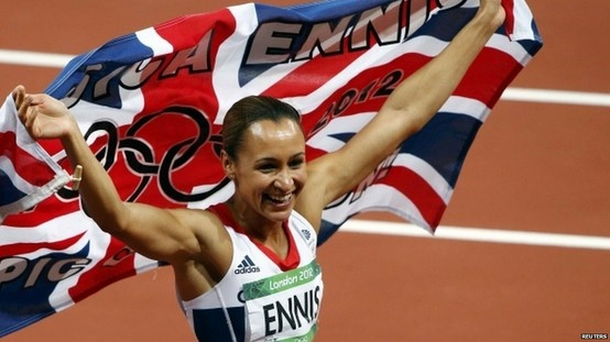 Jessica Ennis wins Gold for the United Kingdom in the heptathlon