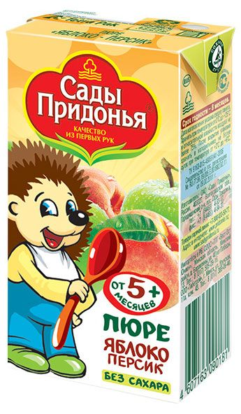 Пюре Сады Придонья яблочно-персиковое, 125 г. с 5 мес.