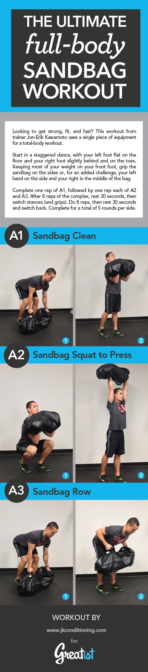 Mix up your workout with sandbag training. Our full-body workout builds speed, power, and strength in just 30 minutes.