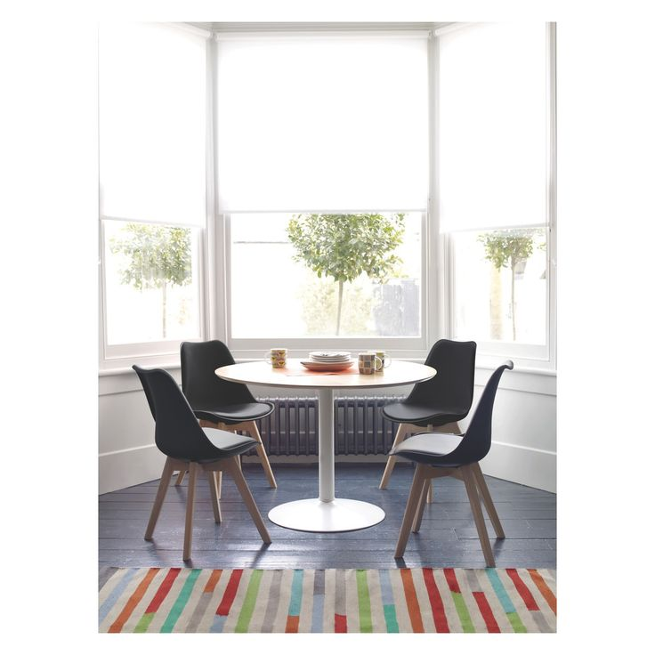 LANCE 4 seater dining set with Lance oak veneer round dining table and 4 Jerry black dining chairs