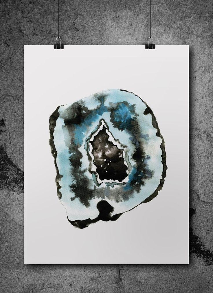 blue agate geode watercolour print