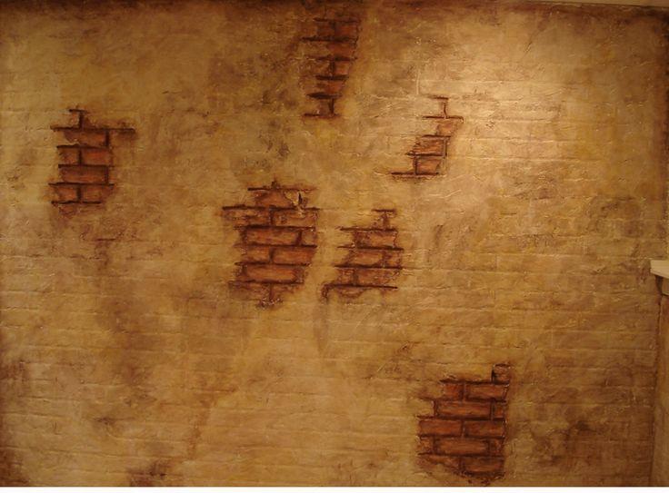 faux finish: plastered brick wall