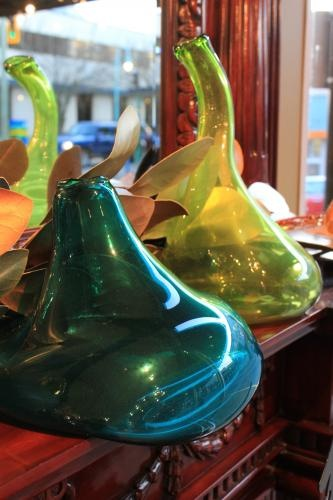 funky hand blown glass vases in fashionable colours.