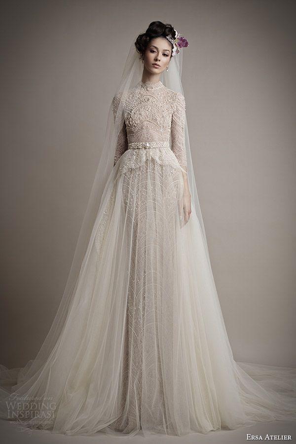 Long sleeves wedding dress. Ersa Atelier 2015 Spring.