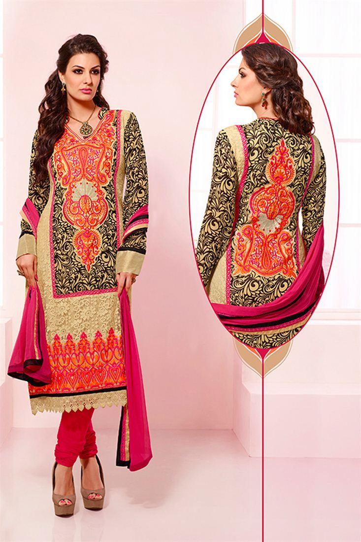 Stylish straight cut georgette salwar suit