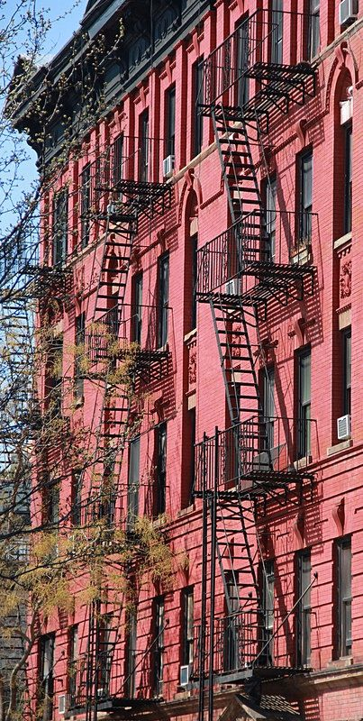 Pink facade and stairs - Soho, New York City