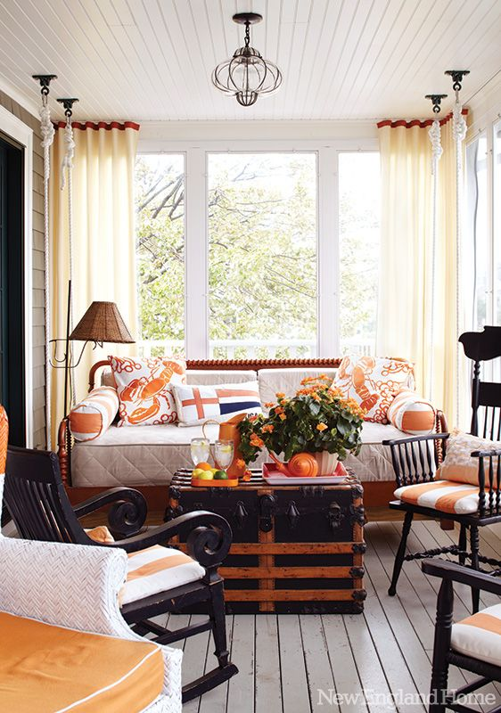 "A place for everything—and everyone—was made possible by imagining the enclosed porch as a ""true room,"" says Gauthier, where a swinging daybed, antique chairs and breathable fabrics invite friends and family to sink in and stay awhile.: Decor Ideas, Living Rooms, Sunporches, Enclo Porches, Sun Porches, Beach Houses, Beaches Houses, Sunroom, New England Home"