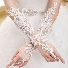 Neue Ankunft 2015 Brauthandschuhe Luxus-Spitze-Blumen-Handschuh Hohle Hochzeitskleid Zubehör weiß Braut Handschuhe(China (Mainland))