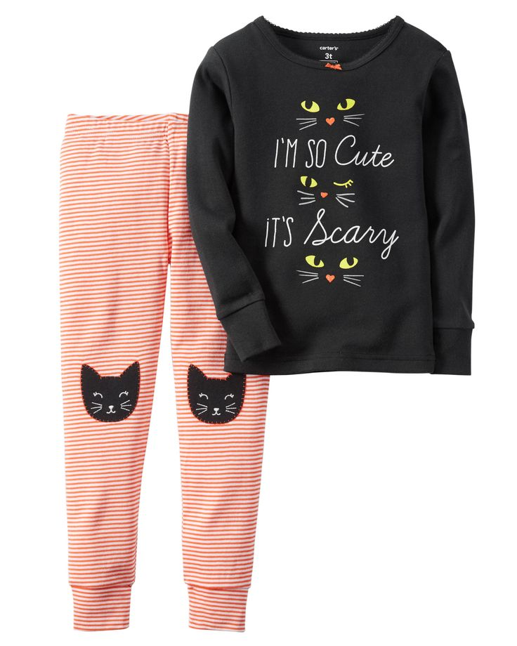 Perfect for a night of fright, this PJ set is crafted in soft cotton with cat appliqués and a sugar glitter graphic. Note: To help keep children safe, cotton pjs should always fit snugly.