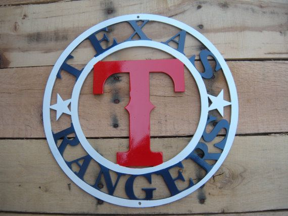 If your a Ranger Fan, this is for you. This item is cut out of 10 gauge steel (1/8 inch) thick, using Cad Designs with high performance plasma cutter. This piece is primed and custom painted. You can hang on your front door or your patio or anywhere in your home. It measures 14 diameter.