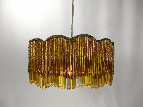 Lush Pendant Glass Beads Layered over Rayon Fringe, Scalloped Hanging Fixture with Twisted Rayon Electrical Wire  Original amber seed & bugle beaded