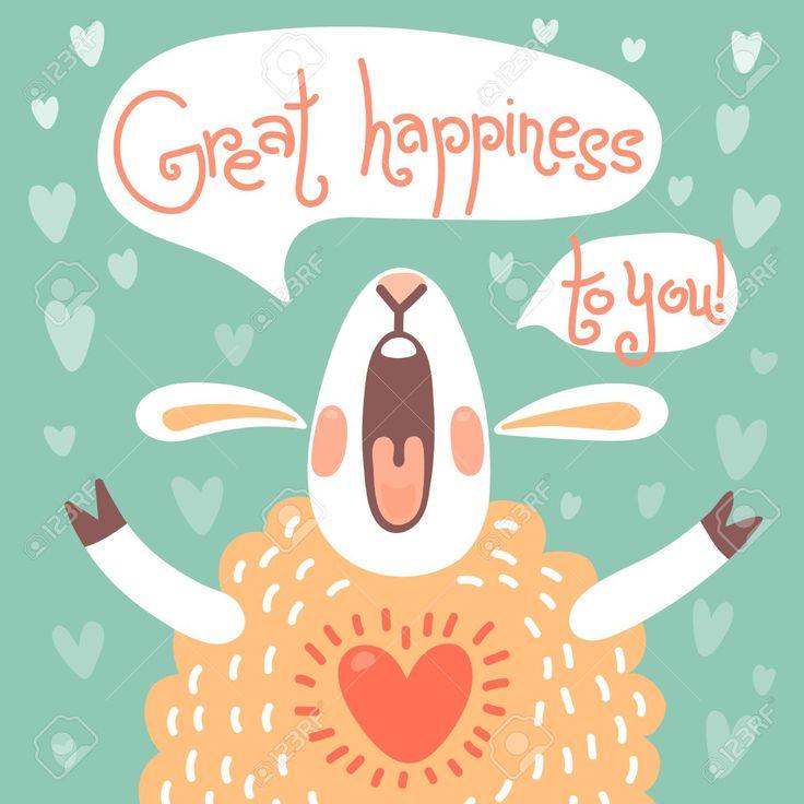 Карта на день рождения или другой праздник с милой овец и желаем большого счастья. Клипарты, векторы, и Набор Иллюстраций Без Оплаты Отчислений. Image 31389123.