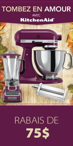 Rabais KitchenAid de 75 $. Fin le 26 septembre.  http://rienquedugratuit.ca/coupons/rabais-kitchenaid-de-75/