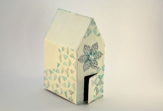 Decorative house mixed media white and blue flower star by BucketOfBadgers