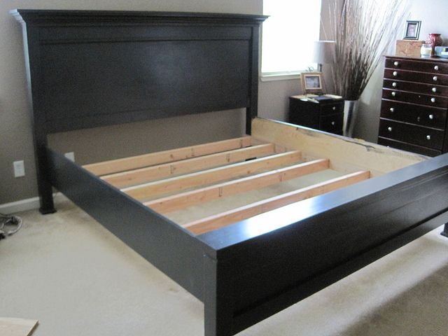Would you like to build a Farmhouse Style Bed for a California King size mattress?  Ana White provides the plans and all you need to know...