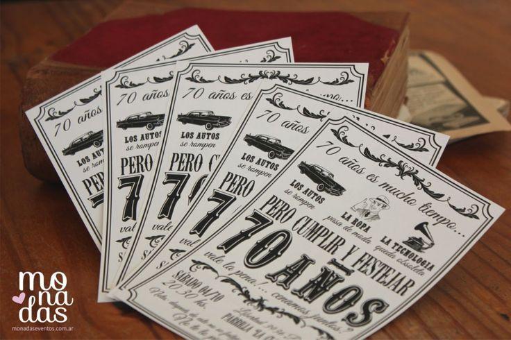 Invitación Vintage 70 años #invitación #ideas #monadas #eventos #cumpleaños #vintage http  www