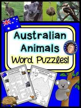 Australian Animals Word Puzzles! Crossword, Word Search, QR Code activity and more!