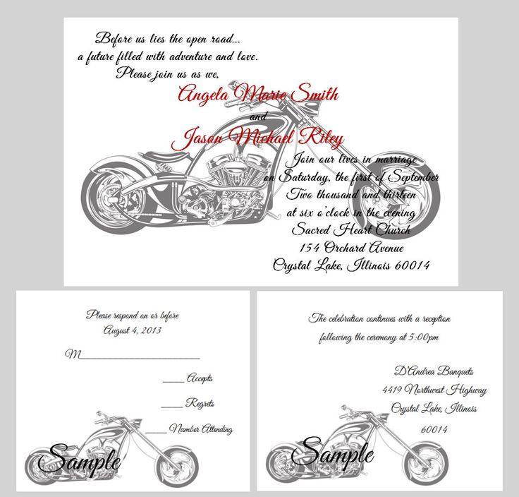 97 best harley wedding ideas images on pinterest   motorcycle, Wedding invitations