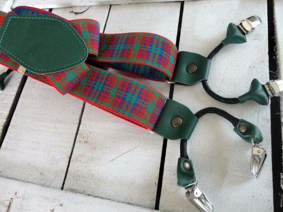 bretelle tartan rosso e verde  vera pelle di di SuspendersTime