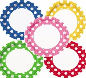 polka dot paper plates bulk pack 40 assorted 15p