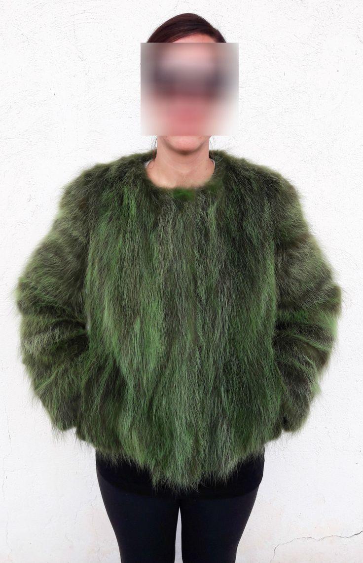 real GREEN RACCOON FUR Jacket - Grun Pelzjacke - Giacca di Pelliccia - зеленый цвет мех енота куртка - Mink silver fox fur coat vest by DamianKastorianFurs on Etsy