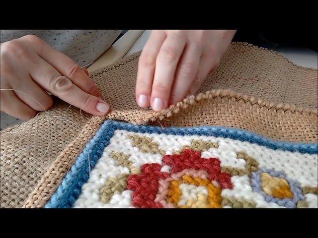 Aula de costura em tela de juta, preparando seu tapete para caseado ou franja de régua.