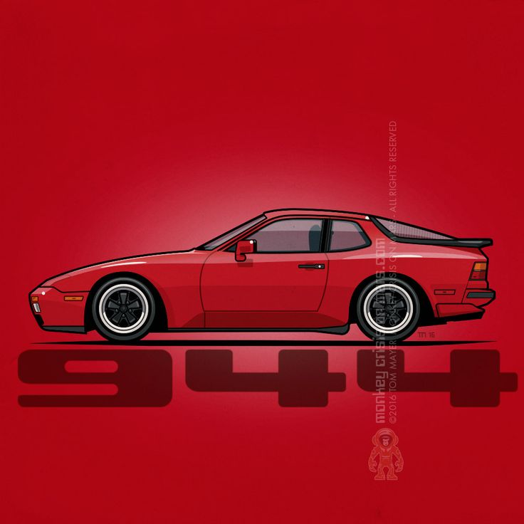 Porsche 944 Turbo (1986) – Artwork #Illustration of a India Red #Porsche 944 Turbo with Fuchs wheels by Tom Mayer, Monkey Crisis On Mars ©2016 All Rights Reserved | Redbubble.com
