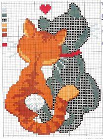 Gráficos de Ponto Cruz: Gatos em ponto cruz