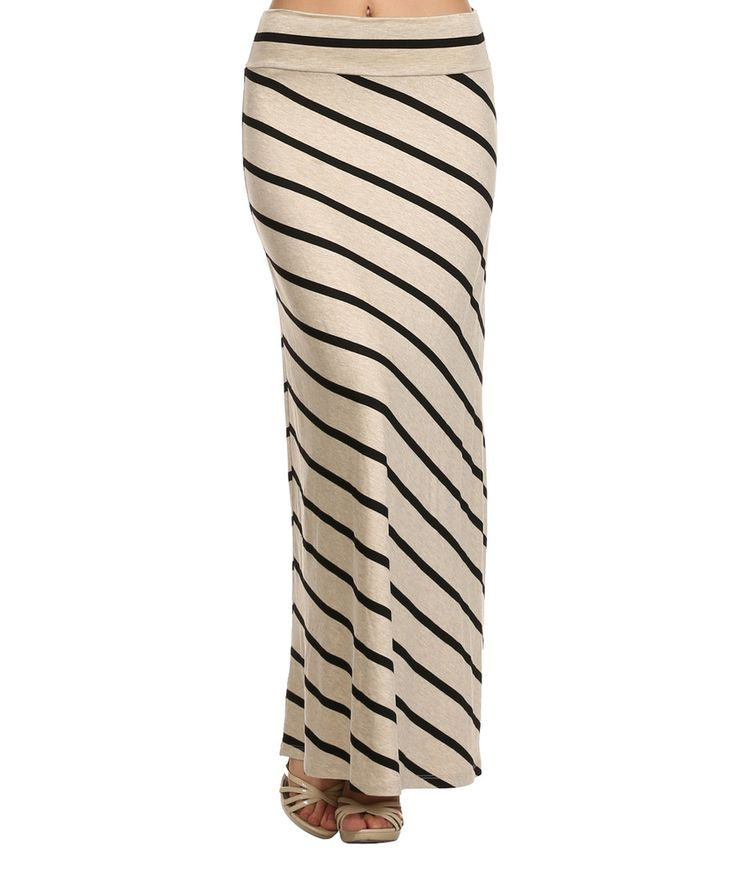 Look at this J-Mode USA Los Angeles Tan & Black Stripe Maxi Skirt on #zulily today!