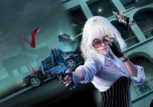 Blonde with gun by delacruz-art