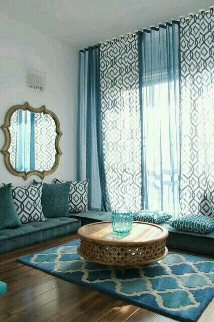 ... Room Mediterranean with Good-Looking Prayer Room next to Artistic Blue  Living Room alongside Exquisite Floor Seating and Stunning Arabic Interior  Design