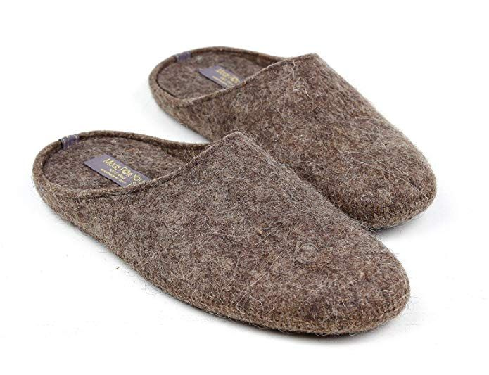 s Natural Wool Slippers with Non-Slip