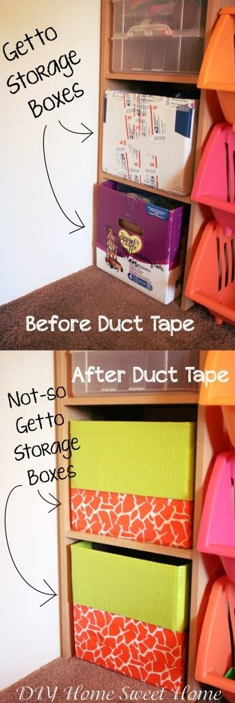 DUCT TAPE!! Use duct tape to make sturdy, but ugly, boxes look decorative. I have a few diaper boxes I was going to put fabric on, but this looks so much easier!!!.