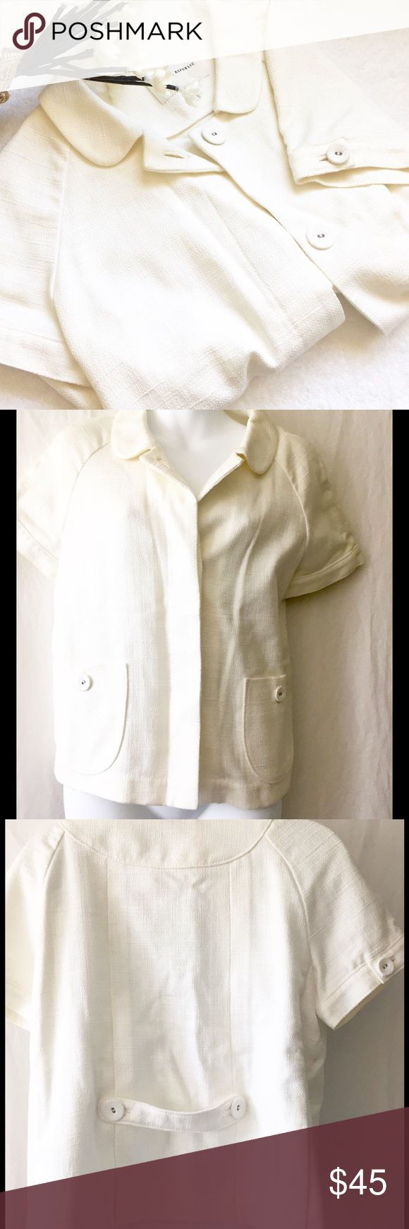 """BANANA REPUBLIC BOXY WHITE JACKET, SIZE M, NWT Pair with dress pants/skirt or with a bright tee underneath.  Never worn.  100% cotton. Chest measures 19"""" and jacket is 21"""" long. Banana Republic Jackets & Coats"""