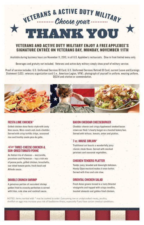 Free Food For Veterans Day For Quick Lunch