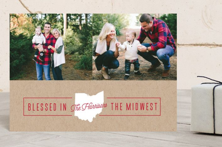 """""""Blessed Midwest"""" - Cities & States, Modern Holiday Petite Cards in Berry by Cheer Up Press."""