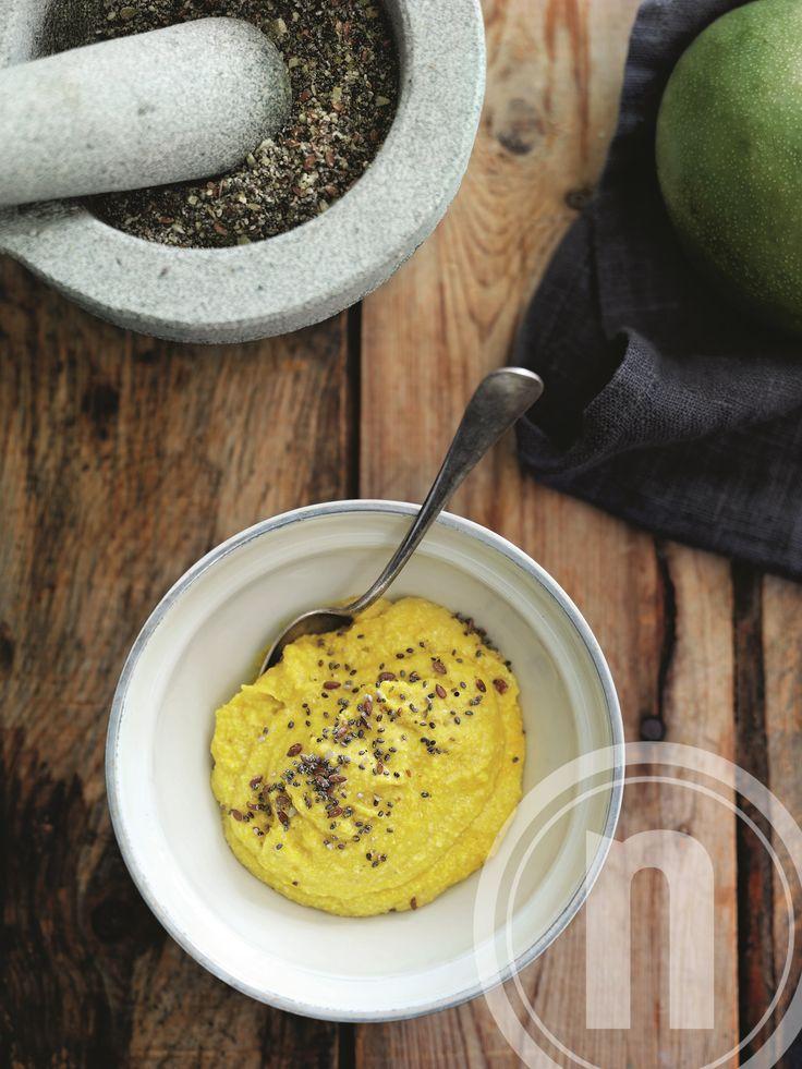 Mango-mos med cashewnødder og fibermix