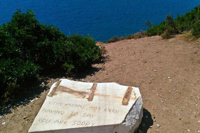 Quote of the day on a stone in the hills of Thassos