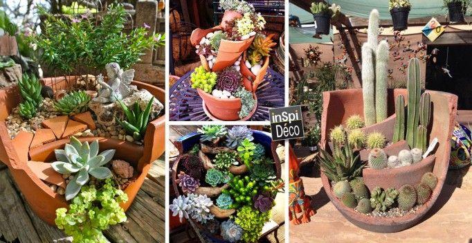 Récupérer les pots cassés pour créer de magnifiques mini jardins! 20 idées…