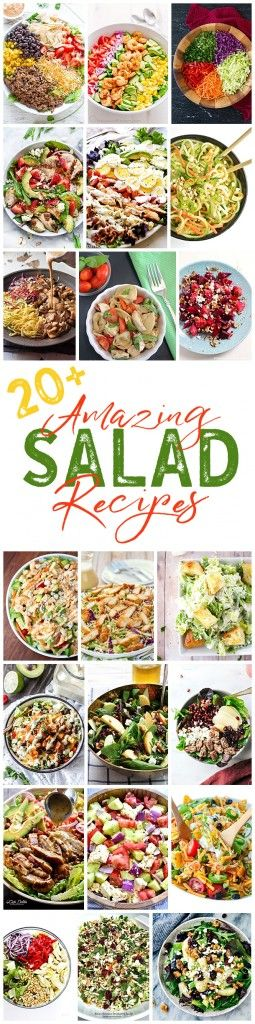 So many delicious salad recipes to try!  So full of delicious flavors and ingredients they can be the healthy main dish for lunch or dinner!