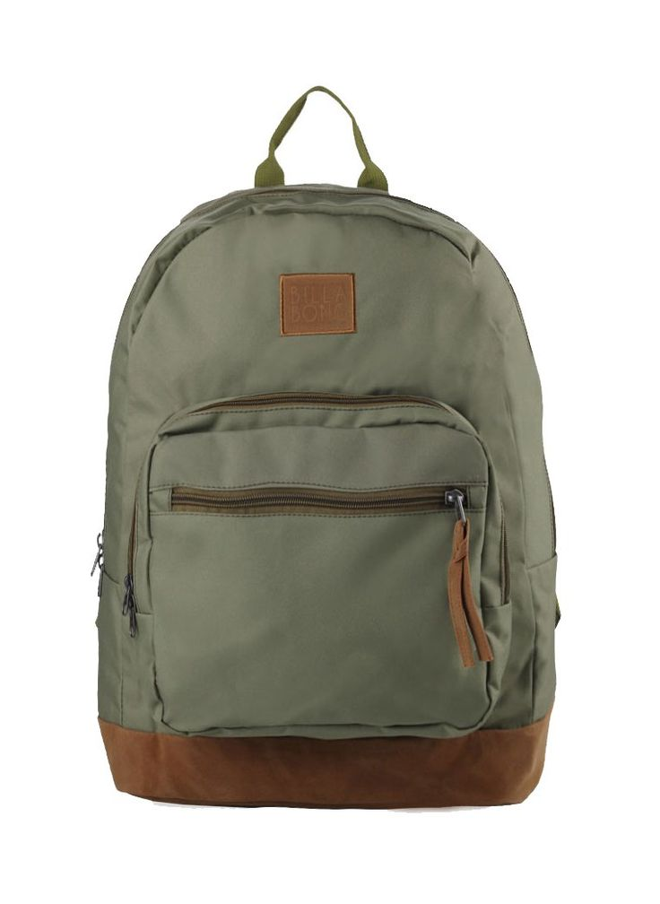 Downtown Backpack by Billabong. Green canvas bag with one main compartment, zipper detail, front pocket, laptop sleeve, adjustable padded strap,  logo patch in front. Backpack that look so simple but eye catching. Backpack measurement 42 cm x 14 cm x 46cm. http://www.zocko.com/z/JINmj