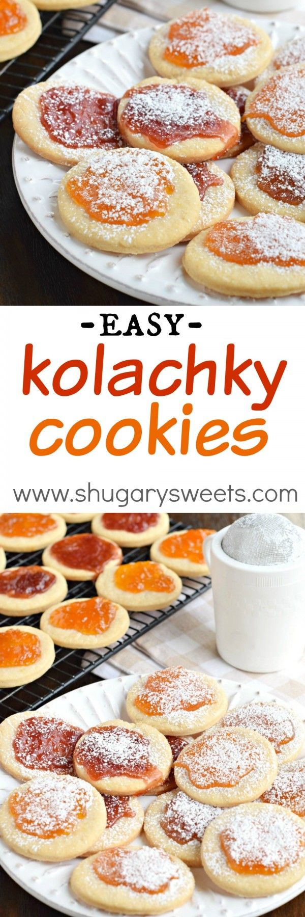 These Kolachky Cookies have a melt in your mouth cookie base and are topped with sweet preserves. Don't forget the extra powdered sugar! Bake for your cookie exchange!