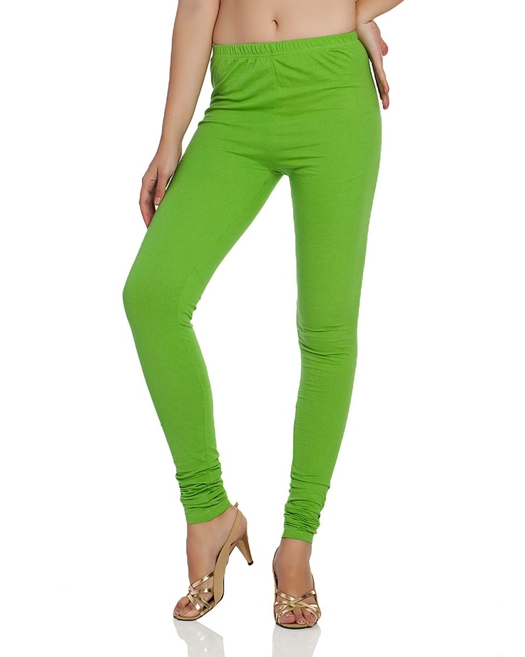 AURELIA WOMEN LIME GREEN KNIT CHURIDHAR   Sail through the day in comfort with these knit churidars. Who said comfort couldn't be glammed up, try these elasticised waistband leggings for a sleek foundation to all your casual looks. Wear yours to anchor tunics and Indian ethnic attire for that effortlessly chic look.