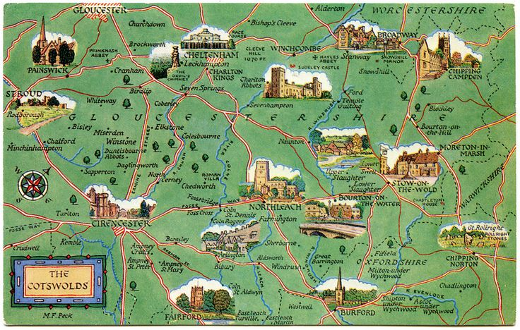 Postcard map of the Cotswolds | by Alwyn Ladell