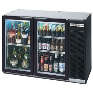 "Beverage Air (Bev Air) BB48GY-1-B 48"" Back Bar Refrigerator with 2 Glass Doors 115V"