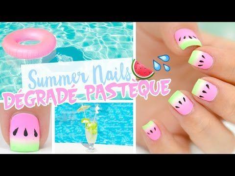 Summer Nails ♡ Dégradé Pastèque - YouTube