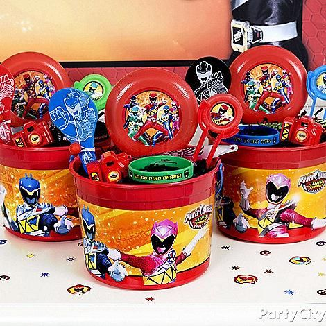 Pack favor containers full of charged up fun! Click for these Power Rangers Dino Charge favor buckets and toys!