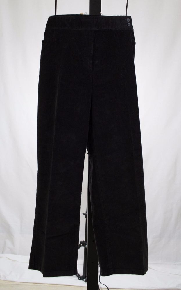 WOMANS BLACK THIN WALE CORDUROY PANTS TALBOTS PETITE PLUS 22WP $78 #Talbots #CaprisCropped