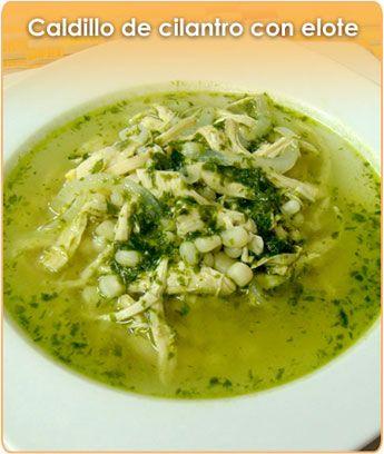 caldillo de cilantro y elote